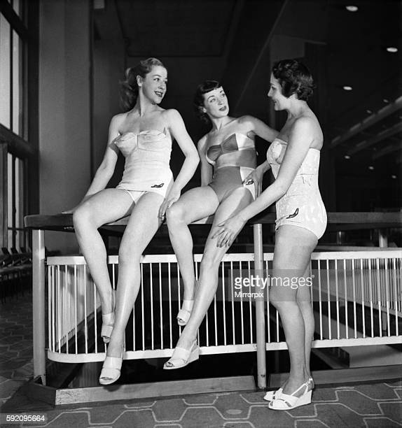 Jantzen gave a display of their spring fashions of Bathing costumes at the Royal festival Hall The Toppers who are well known on television displayed...