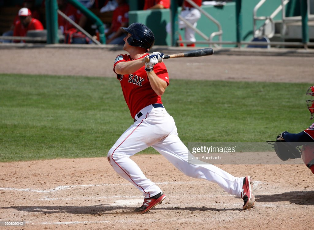 Jantzen Witte #19 of the Boston Red Sox hits a two run home run against the Washington Nationals in the seventh inning during a spring training game at JetBlue Park on March 30, 2017 in Fort Myers, Florida. The Red Sox defeated the Nationals 8-1.