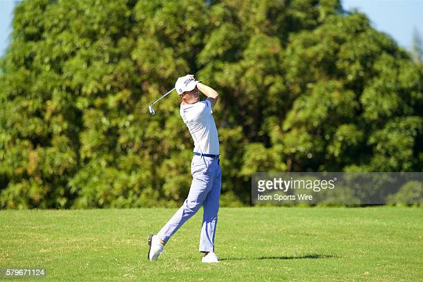 Justin Thomas hits his approach shot to number nine during the First Round of the Hyundai Tournament of Champions at Kapalua Plantation Course on...