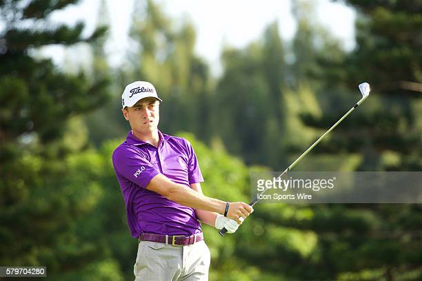 Justin Thomas tees off on the second hole during the Third Round of the Hyundai Tournament of Champions at Kapalua Plantation Course on Maui HI