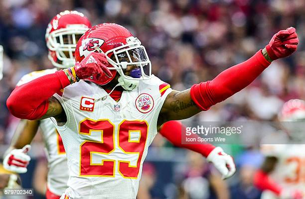 Kansas City Chiefs defensive back Eric Berry simulates shooting a bow and arrow in celebration of his first half interception during the Chiefs at...