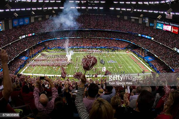 Alabama Crimson Tide is introduced prior to the Ohio State Buckeyes game versus the Alabama Crimson Tide in their College Football Playoff Semifinal...