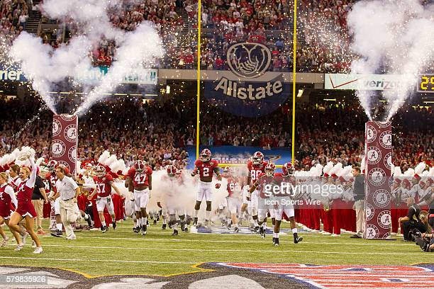 The Alabama Crimson Tide take the field prior to the Ohio State Buckeyes game versus the Alabama Crimson Tide in their College Football Playoff...
