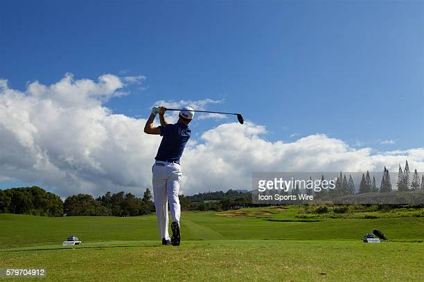 Justin Thomas tees off on number fourteen during the Final Round of the Hyundai Tournament of Champions at Kapalua Plantation Course on Maui HI