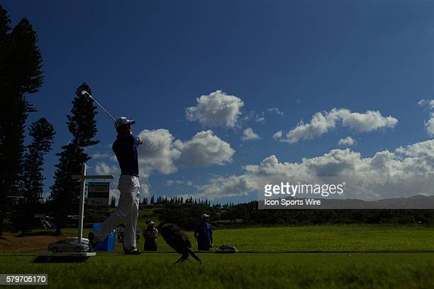 Justin Thomas tees off on number two during the Final Round of the Hyundai Tournament of Champions at Kapalua Plantation Course on Maui HI