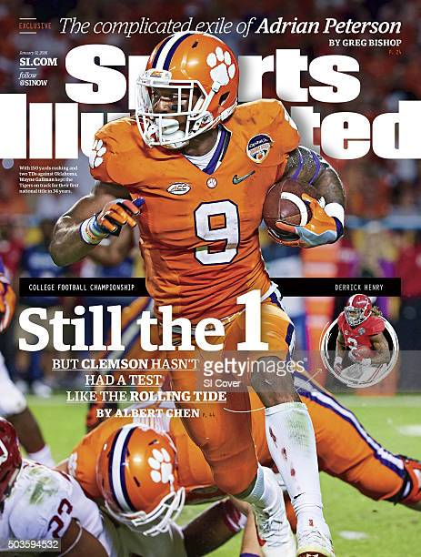 January 11 2016 Sports Illustrated Cover Orange Bowl Clemson Wayne Gallman in action rushing vs Oklahoma during College Football Playoff Semifinal at...
