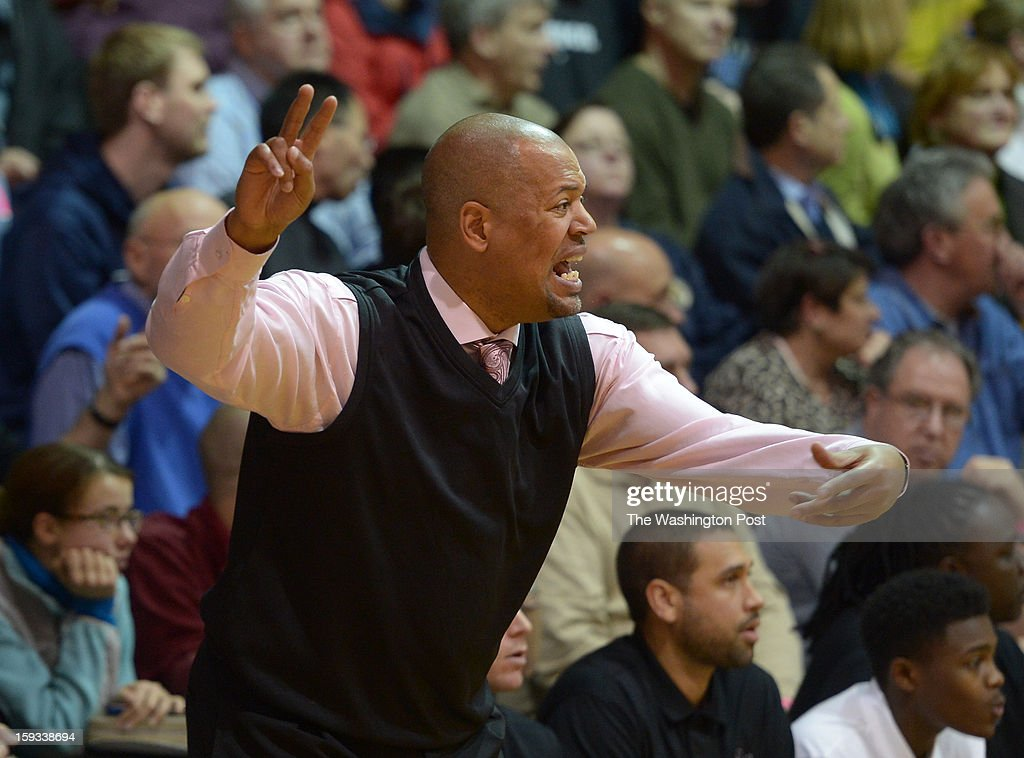 DeMatha Head Coach Mike Jones directs traffic during action against Bishop O'Connell on January 11, 2013 in Arlington, VA