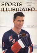 January 12 1959 Sports Illustrated Cover Hockey Closeup portrait of New York Rangers Andy Bathgate before game vs Montreal Canadiens New York NY