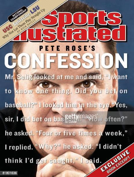 January 12 2004 Sports Illustrated Cover Baseball Closeup portrait of former player Pete Rose after admitting MLB game gambling and making confession...
