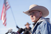 January 15 2016 in Burns Oregon LaVoy Finicum speaks to reporters after disabling a power pole remote camera location near the occupied Malheur...
