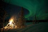 January 17, 2007 - Aurora above Aurora Village, Aurora Lake, Yellowknife, Northwest Territories, Canada.