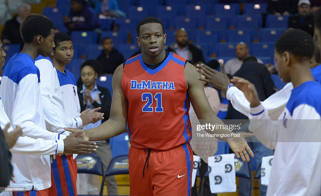 DeMatha C Beejay Anya (21) is introduced prior to action against Gonzaga on January 17, 2013 in Washington, DC