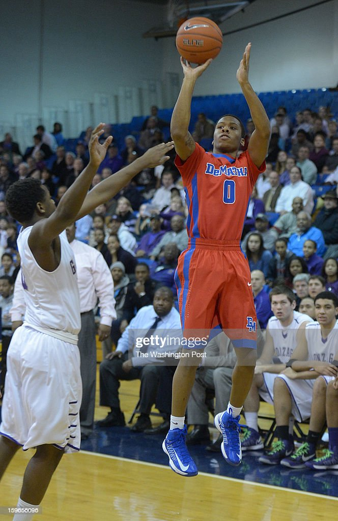 DeMatha G Jarius Lyles (0) fires a three pointer during 1st half action against Gonzage on January 17, 2013 in Washington, DC