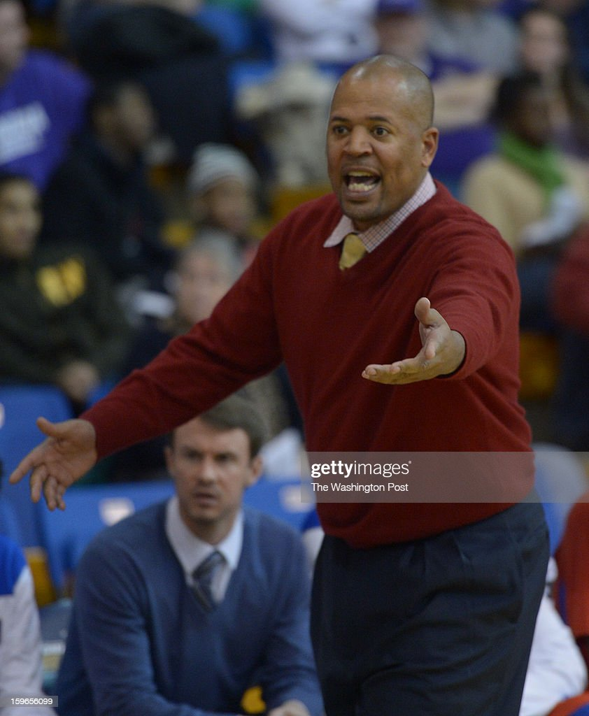 DeMatha Head Coach Mike Jones looks for the call during action against Gonzaga on January 17, 2013 in Washington, DC
