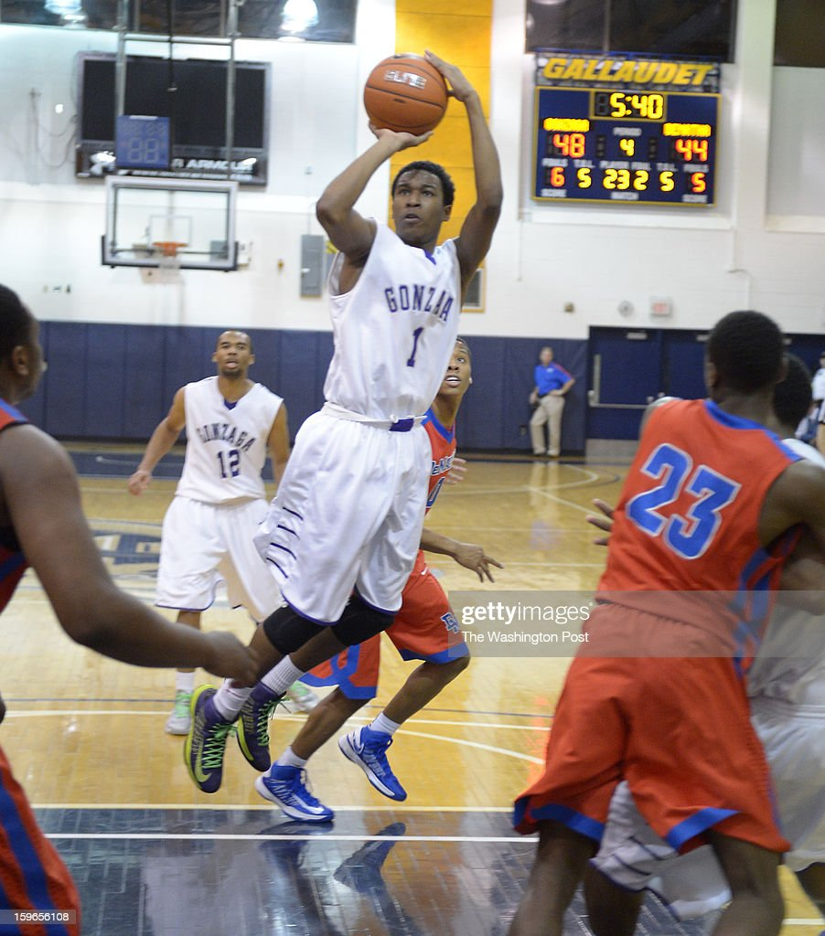 Gonzaga G Bryant Crawford (1) stops and pops a jumper in the lane during action against DeMatha on January 17, 2013 in Washington, DC