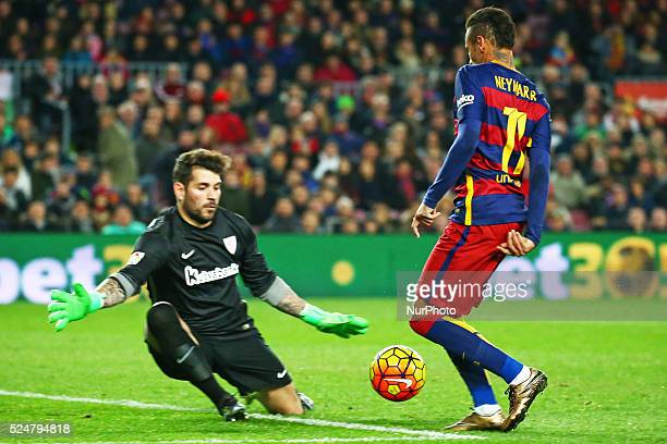 Neymar Jr and Iago Herrerin during the match between FC Barcelona and Athletic Club corresponding to the week 20 of the spanish league played at the...