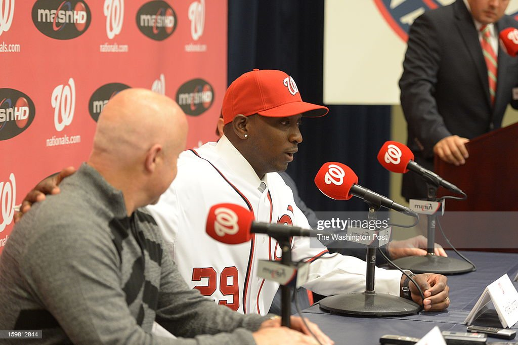 Washington Nationals pitcher Rafael Soriano answers questions during his introductory press conference on January 17, 2013 in Washington, DC