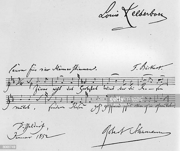 Musical manuscript of Robert Schumann's 'Ritornelles' for male chorus in canon form