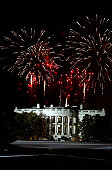January 19, 2005 - Fireworks explode over the White House on the eve of President Bush's inauguration at the Ellipse in Washington D.C..