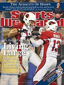 January 19 2009 Sports Illustrated Cover Football NFC Playoffs Arizona Cardinals Larry Fitzgerald victorious with QB Kurt Warner during game vs...