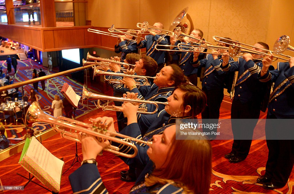 The Letcher County Central High School Band plays at the Kentucky Bluegrass Inaugural Ball at the Marriott Wardman Park on January 19, 2013 in Washington, DC