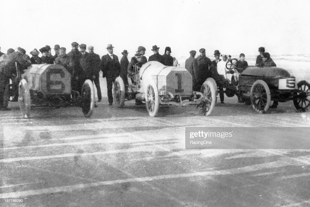 Three of the four cars that took part in one of the earliest drag races on the beach E R Thomas and William K Vanderbilt both driving Mercedes were...