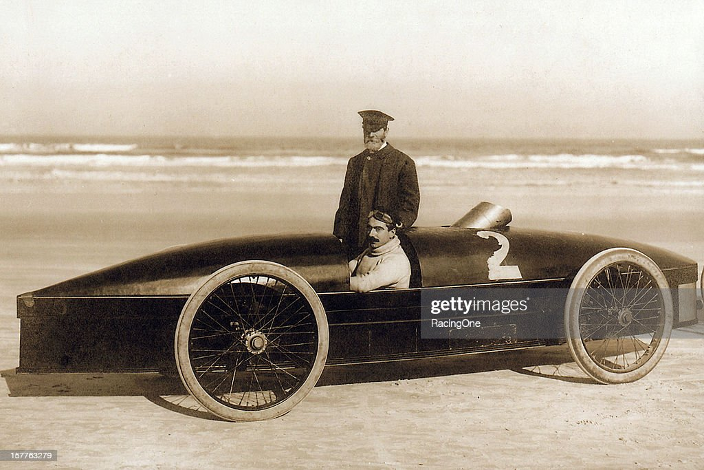 Fred Marriott of Needham MA at the wheel of the Stanley Rocket steampowered car On January 26 he set the world land speed record at 127659 mph on...