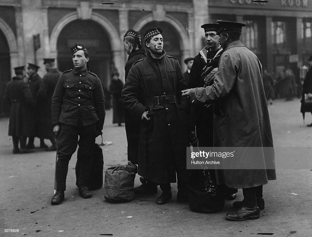 British soldiers leaving Waterloo Station on their way to the front
