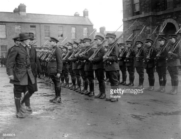 Irish Free State Minister for Defence General Richard Mulcahy inspecting Free State soldiers at Dublin Barracks after Partition