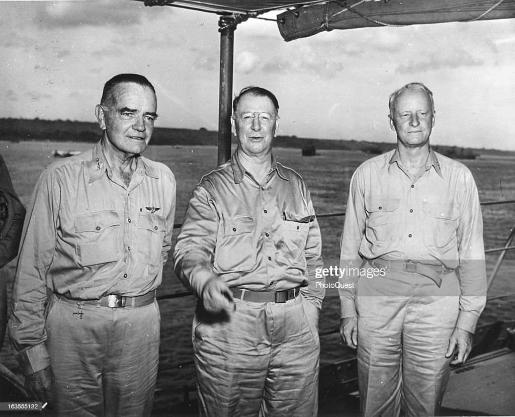 January 1943, South Pacific - Admiral William F. Halsey (left), Secretary of the Navy Frank Knox (center) and Admiral Chester Nimitz (right).