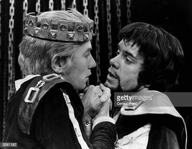 Actors Ian McKellen and James Laurenson playing a love scene between Edward II and Gaveston during a dress rehearsal of Marlowe's 'Edward II' at...