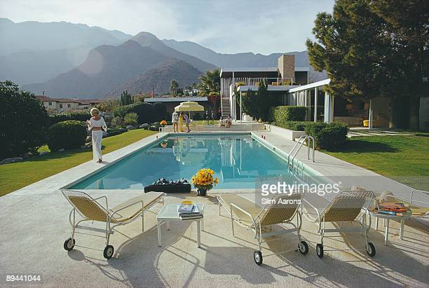 Helen Dzo Dzo at the Kaufmann Desert House in Palm Springs California designed by Richard Neutra in 1946 for businessman Edgar J Kaufmann