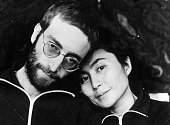 John Lennon with his wife Yoko Ono the first time he was photographed with short hair since his hippy days