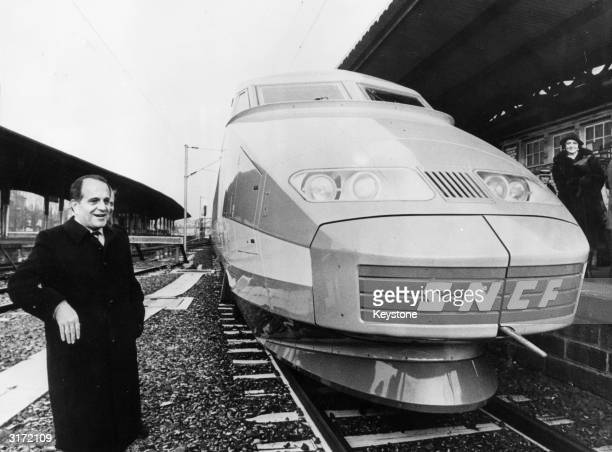 Joel le Theule the French Minister of Transport unveils a new SNCF train to members of the press at Colmar in Strasbourg