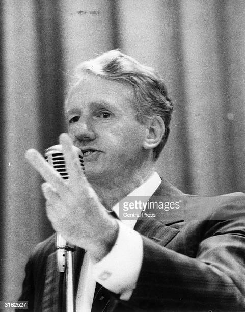 Rhodesian Prime Minister Ian Smith addresses a meeting in the lead up to the January 30th referendum in which the country's white electorate will...