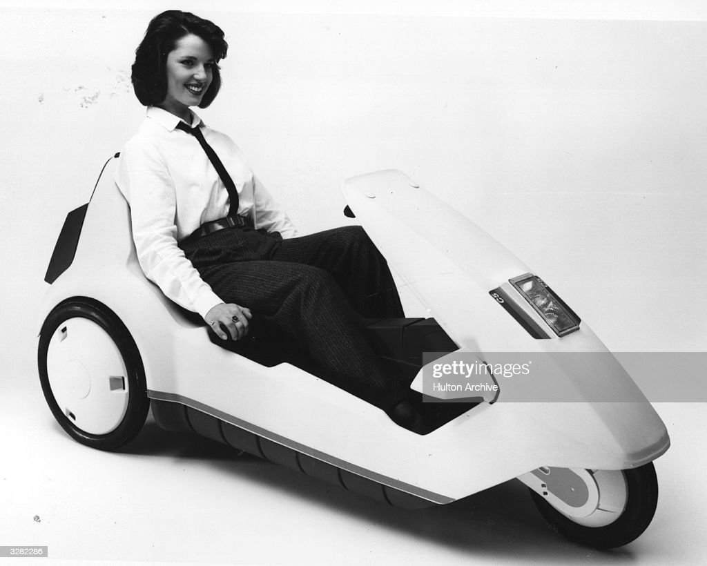 The Sinclair C5 electric vehicle being demonstrated.