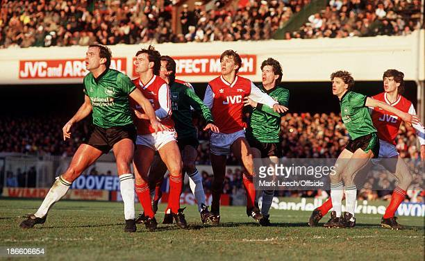 31 January 1987 Arsenal v Plymouth Argyle Charlie Nicholas Tony Adams and Niall Quinn wait for the ball to be crossed into the Argyle penalty area