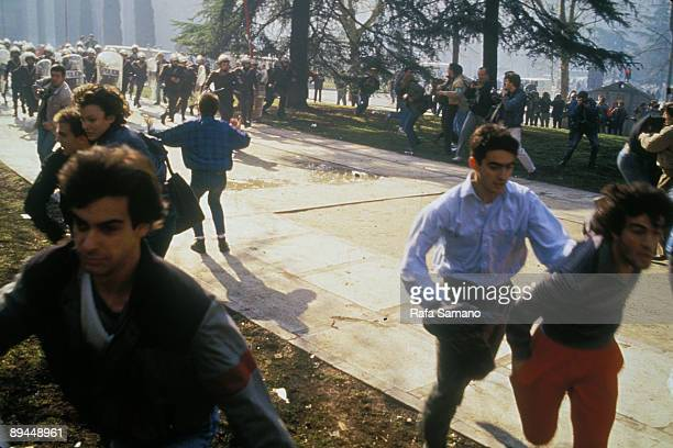 January 1987 Madrid Spain Demonstration of students against the Selectividad and the rise of university taxes