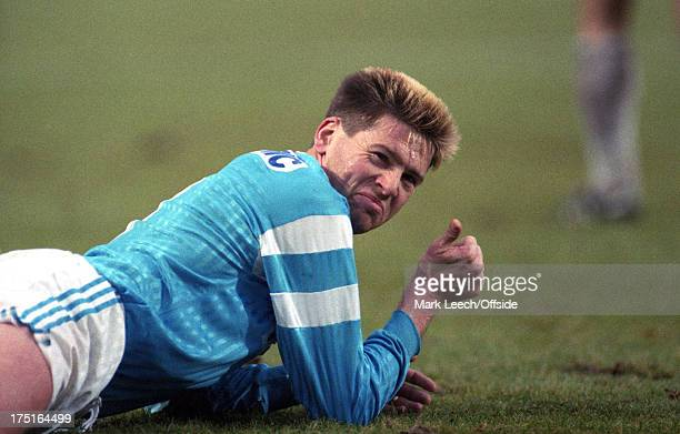 20 January 1991 French Football Lille v Olympique de Marseille Chris Waddle gives a sarcastic thumbs up from the floor after being fouled
