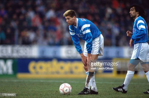 20 January 1991 French Football Lille v Olympique de Marseille Chris Waddle stands over the ball at a Marseille free kick