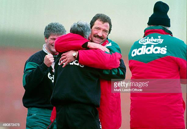 02 January 1993 FA Cup Round 3 Bolton Wanderers v Liverpool Liverpool manager Graeme Souness celebrates as Ian Rush equalises