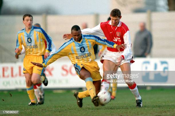 20 January 1998 Arsenal v Chelsea reserves David Rocastle of Chelsea gets to the ball before Tony Adams watched by seventeen year old John Terry