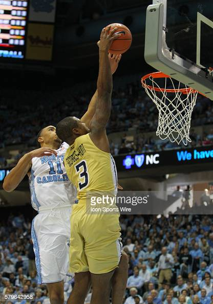 North Carolina Tar Heels forward Brice Johnson challenges Georgia Tech Yellow Jackets guard Marcus GeorgesHunt during the NCAA men's basketball game...