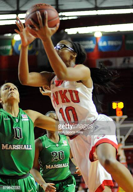 Western Kentucky Lady Toppers forward Tashia Brown drives to the left during an college basketball game between the Marshall Thundering Herd and the...