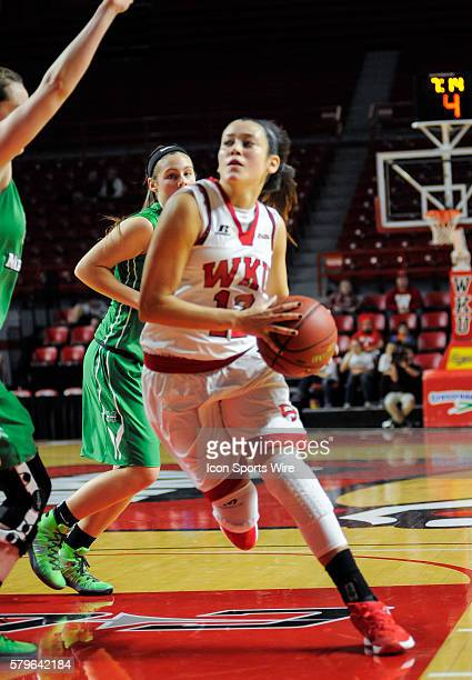 Western Kentucky Lady Toppers guard Kendall Noble drives down the right side of the lane during an college basketball game between the Marshall...