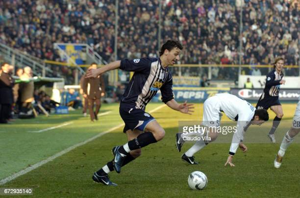 Zlatan Ibrahimovic of Juventus FC in action during the italian Serie A 2004/2005 17 th round macht played between Parma and Juventus Turin at Ennio...