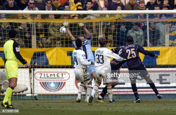 Zlatan Ibrahimovic of Juventus FC scores the goal during the italian Serie A 2004/2005 17 th round macht played between Parma and Juventus Turin at...