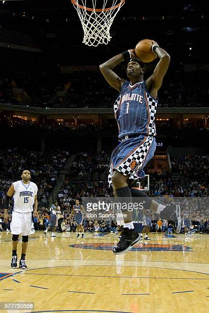 Charlotte Bobcats guard Stephen Jackson goes in for a dunk against the Orlando Magic during an NBA basketball game at Time Warner Cable Arena in...