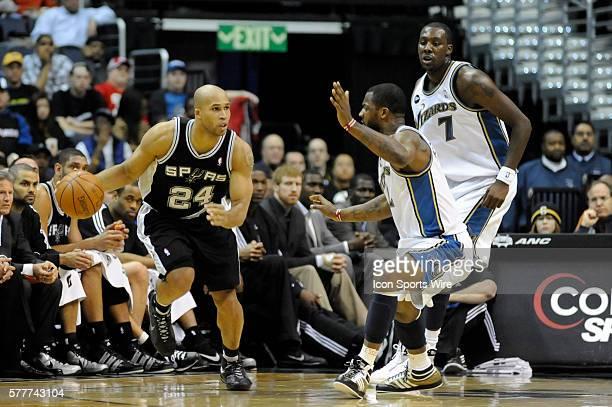 San Antonio Spurs forward Richard Jefferson in action against Washington Wizards guard DeShawn Stevenson and forward Andray Blatche at the Verizon...