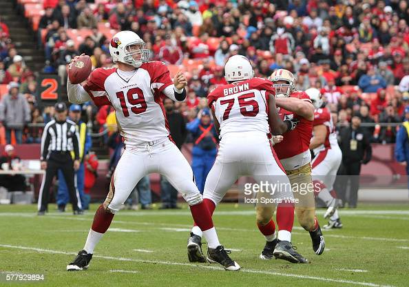 Arizona Cardinals quarterback John Skelton drops back to pass as the 49ers lead the Cardinals 107 at halftime at Candlestick Park in San Francisco Ca